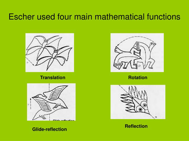 Escher used four main mathematical functions