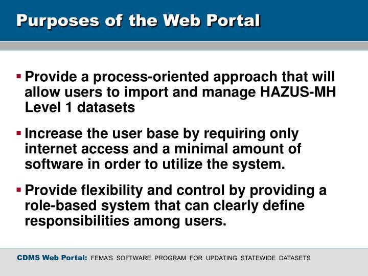 Purposes of the web portal