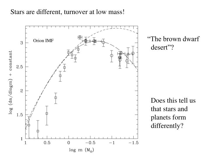 Stars are different, turnover at low mass!