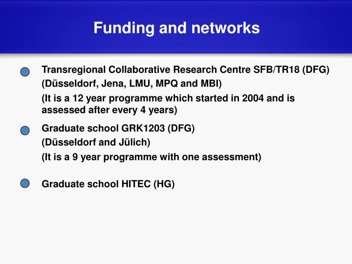 Funding and networks