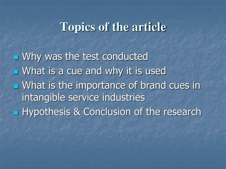 Topics of the article