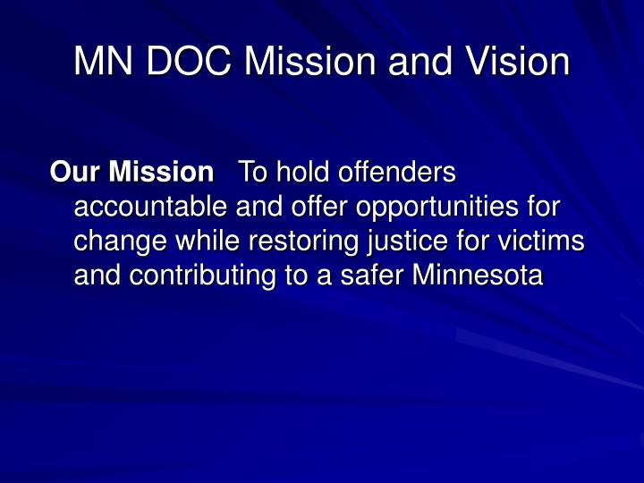 Mn doc mission and vision