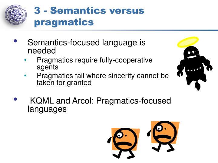 3 - Semantics versus pragmatics
