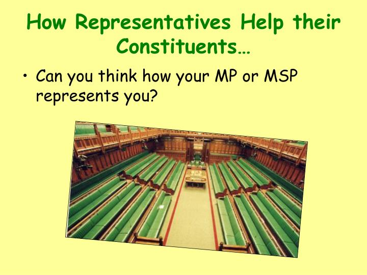 an analysis of the elected representatives which represents the views of their constituents Politicians are usually expected to represent their constituents' preferences first, the very idea of representative democracy is based on the fact that the preferences of the individual constituents divergence of constituencies preferences are often due to elected member of parliament are not in.
