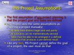 ms project assumptions