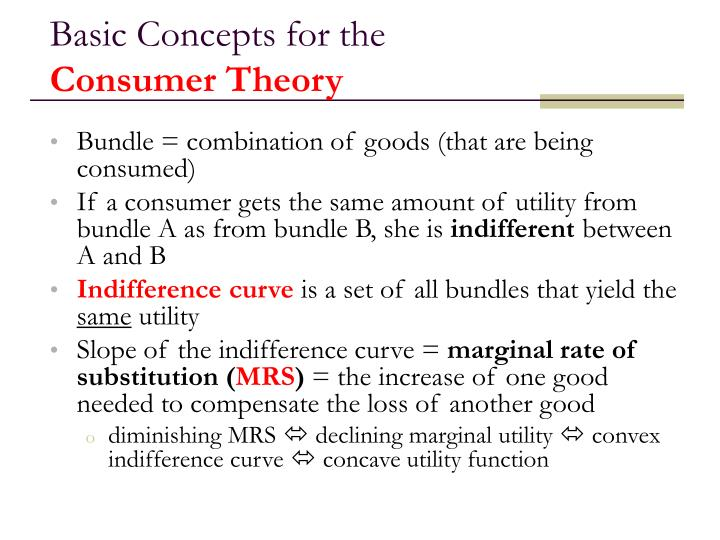 Basic concepts for the consumer theory