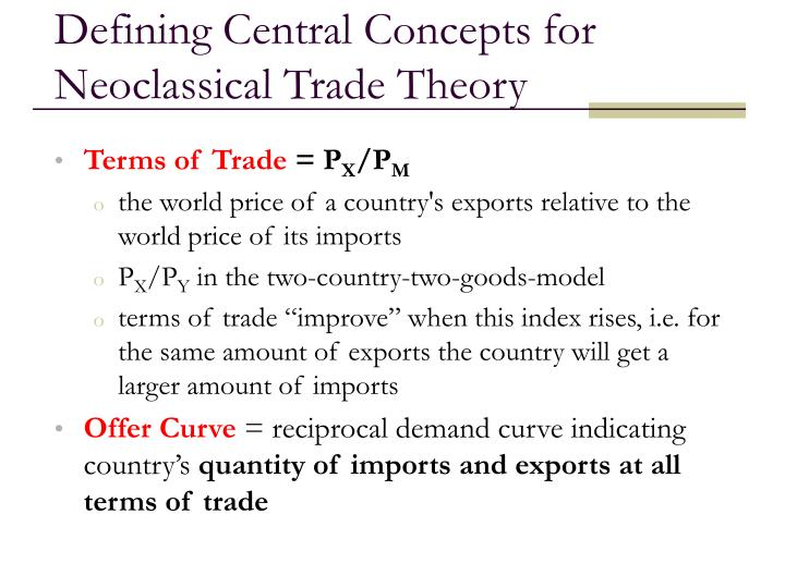 Defining Central Concepts for Neoclassical Trade Theory