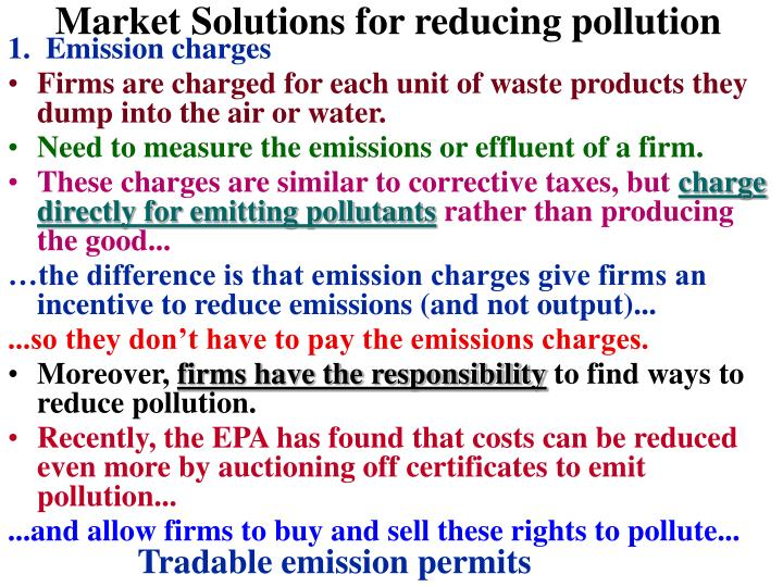 Market Solutions for reducing pollution
