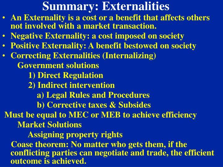 Summary: Externalities