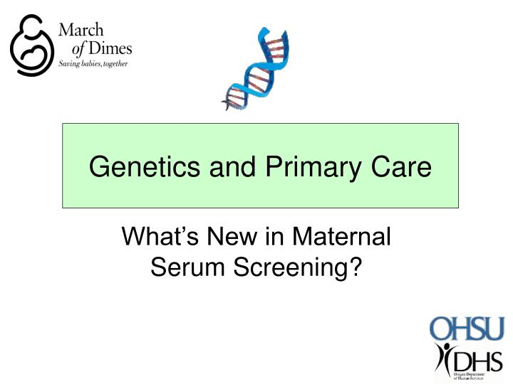 genetics and primary care n.