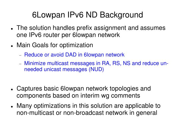 6lowpan ipv6 nd background
