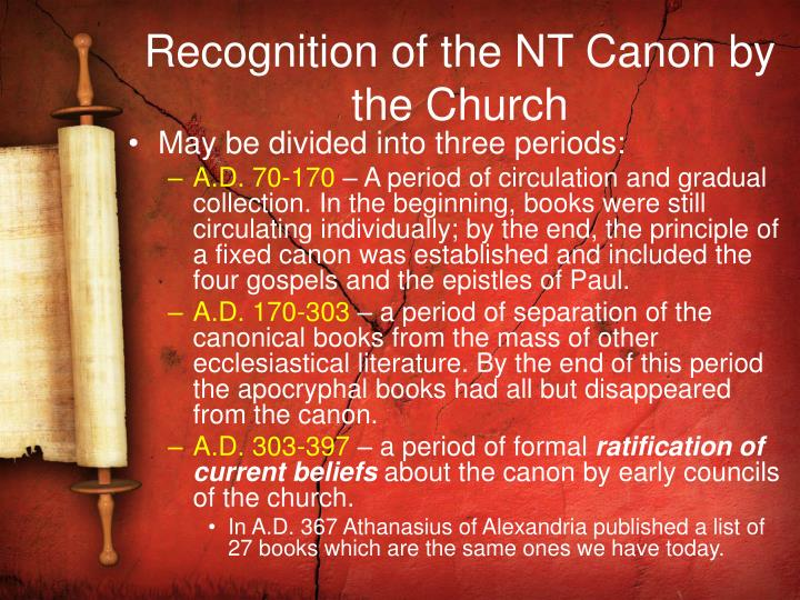 Recognition of the NT Canon by the Church