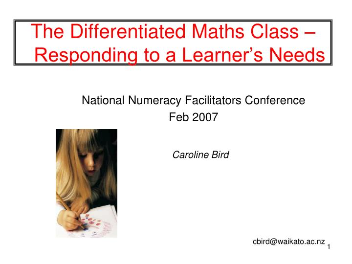 ppt the differentiated maths class responding to a learner s