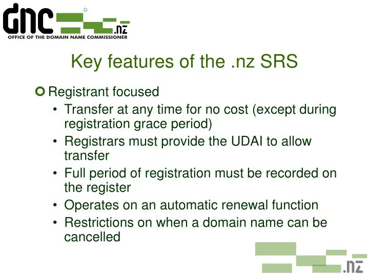 Key features of the .nz SRS