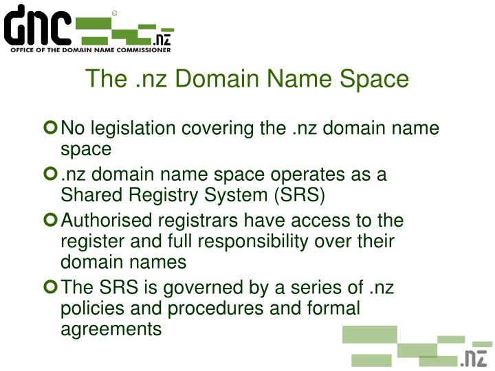 The nz domain name space