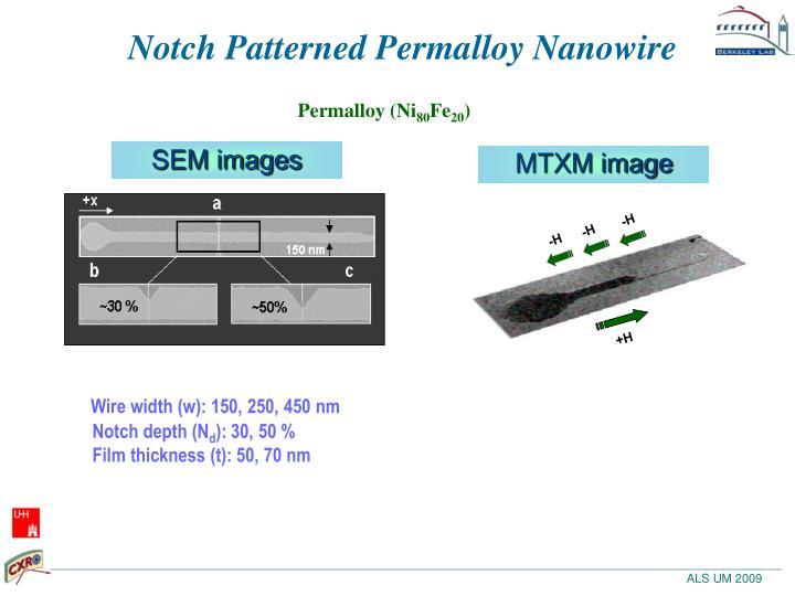 Notch Patterned Permalloy Nanowire