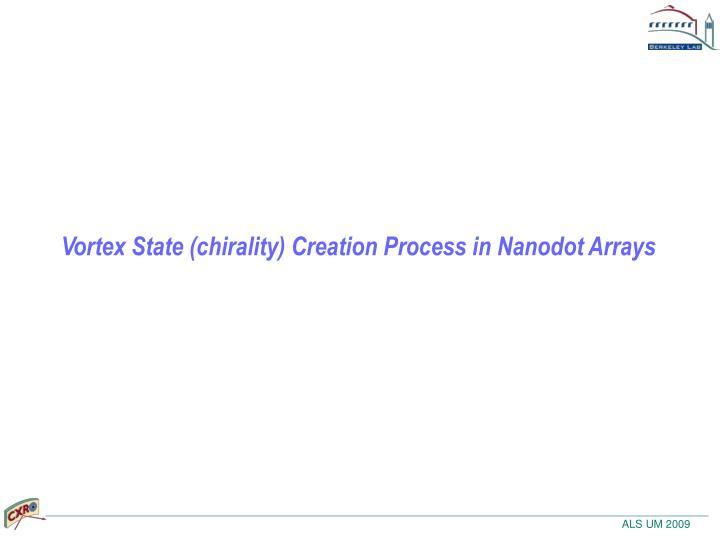 Vortex State (chirality) Creation Process in Nanodot Arrays