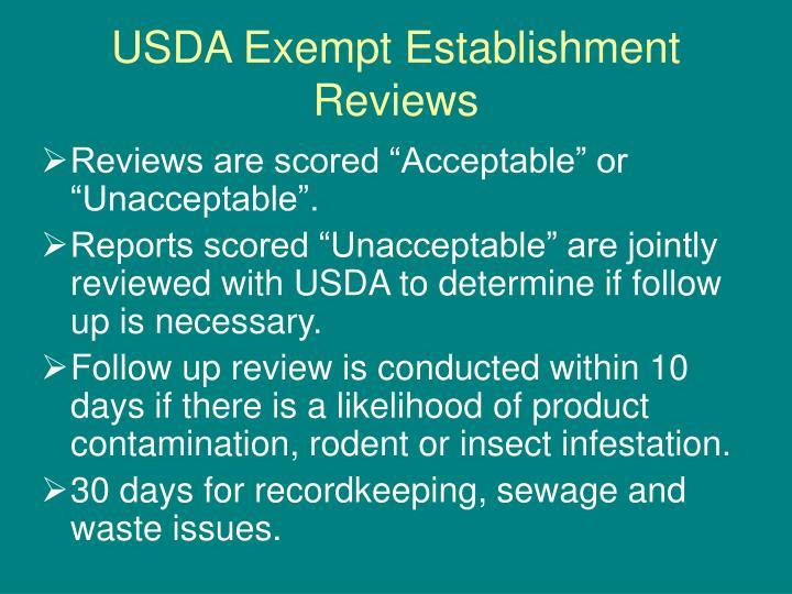 USDA Exempt Establishment Reviews