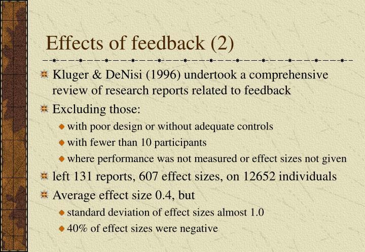 Effects of feedback (2)