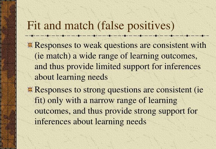 Fit and match (false positives)