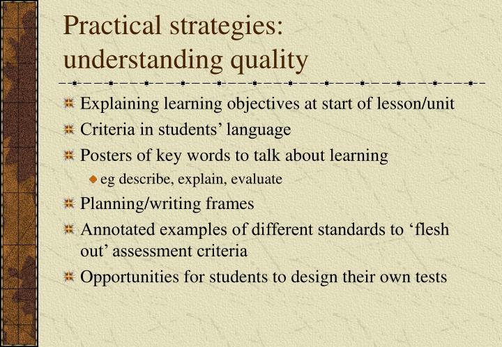 Practical strategies: