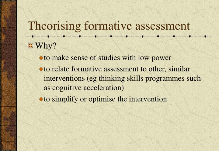 Theorising formative assessment