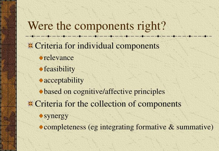 Were the components right?