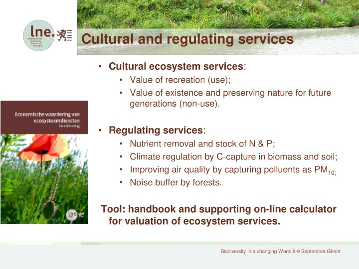 Cultural and regulating services