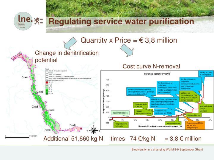 Regulating service water purification