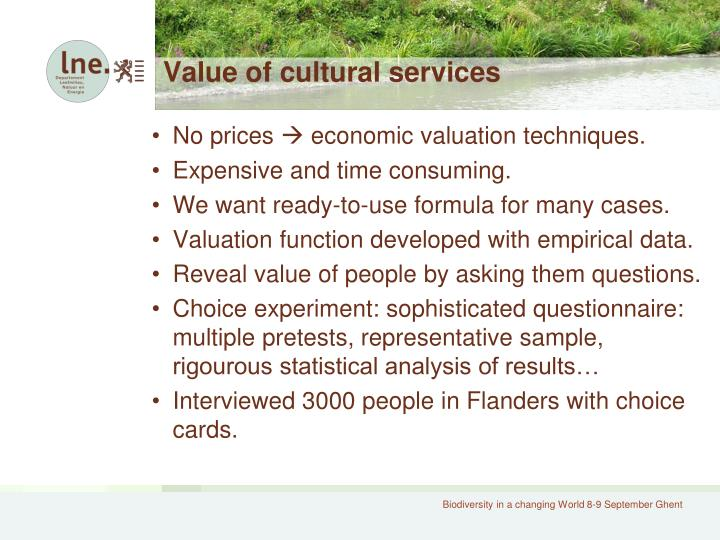 Value of cultural services