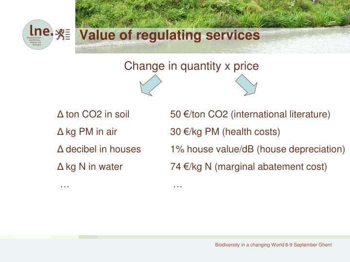 Value of regulating services