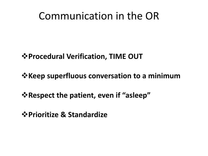 Communication in the OR