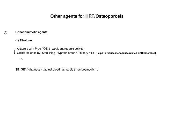 Other agents for HRT/Osteoporosis