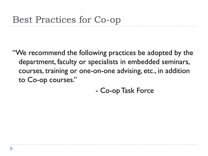 Best Practices for Co-op