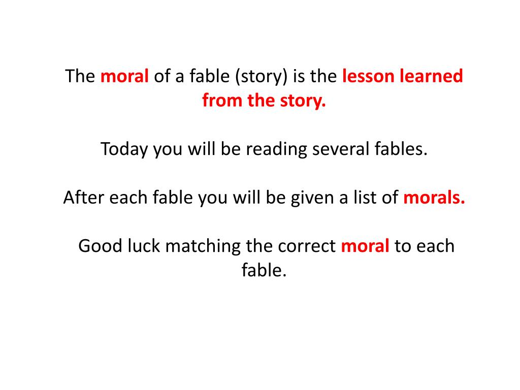 A List Of Fables And Their Morals ppt - fables and their morals powerpoint presentation, free