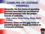 gambling on licensed premises
