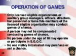 operation of games