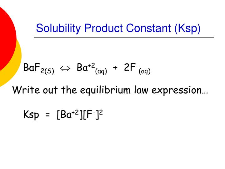 solubility product constant handout Calculate the solubility product ofgypsum at25°c from the dat'a in appendix ii (a solubility product is an equilibrium constant for asimple solubility reaction.