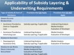 applicability of subsidy layering underwriting requirements