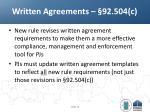 written agreements 92 504 c