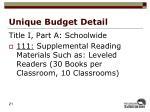 unique budget detail