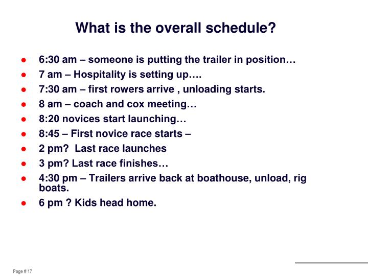 What is the overall schedule?