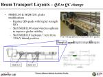 beam transport layouts qb to qc change