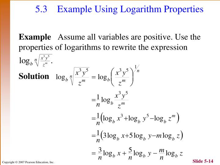 5.3 Example Using Logarithm Properties