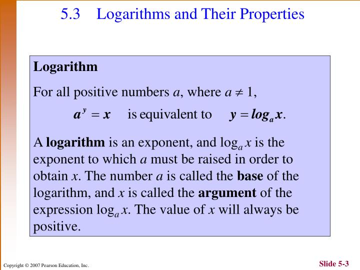 5 3 logarithms and their properties