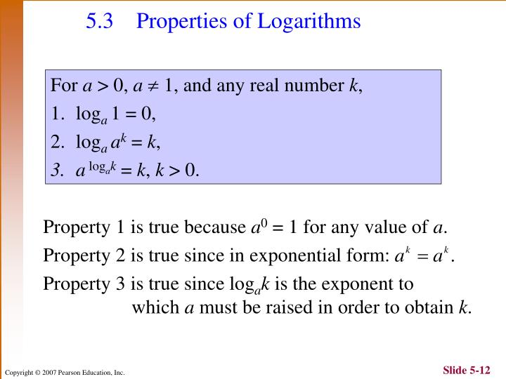 5.3 Properties of Logarithms