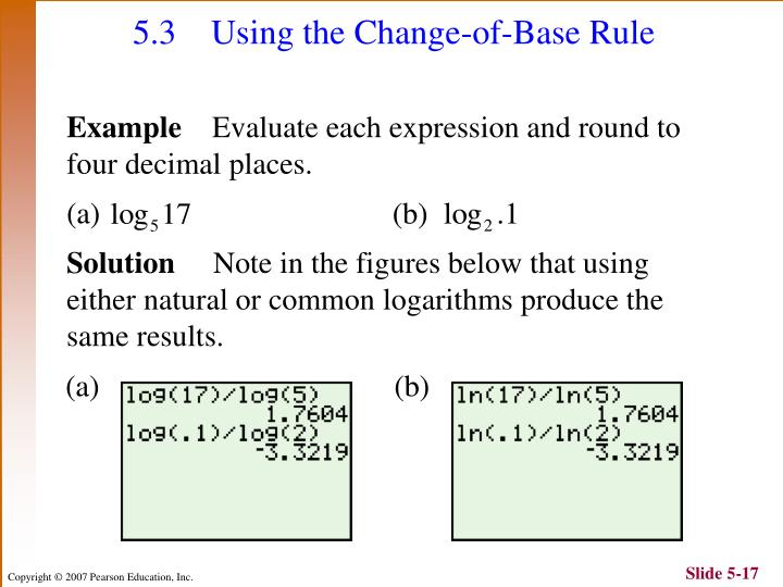 5.3 Using the Change-of-Base Rule