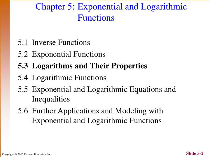 Chapter 5 exponential and logarithmic functions