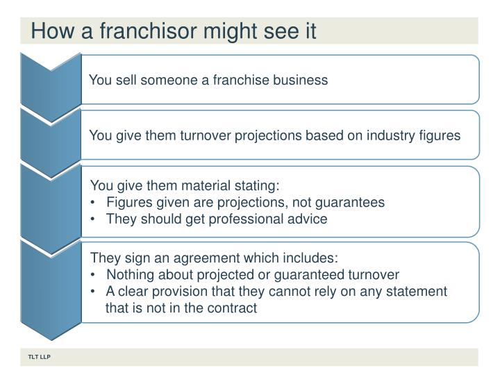How a franchisor might see it
