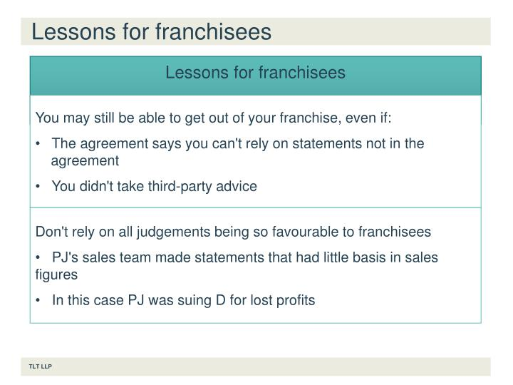 Lessons for franchisees